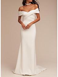 cheap -Mermaid / Trumpet V Neck Sweep / Brush Train Satin Regular Straps Formal Plus Size Wedding Dresses with Draping 2020