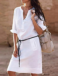 cheap -Women's Elegant Slim Shift Dress - Solid Colored V Neck Black White Yellow S M L XL