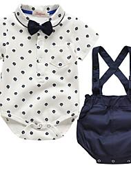 cheap -Baby Boys' Basic Geometric Short Sleeve Regular Regular Clothing Set White