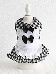 cheap -Dog Costume Dress Dog Clothes Breathable Black Costume Beagle Bichon Frise Chihuahua Cotton Plaid / Check Bowknot Lace Cosplay Casual / Sporty XS S M L XL