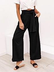 cheap -Women's Basic Wide Leg Pants - Solid Colored Black Wine Orange S M L