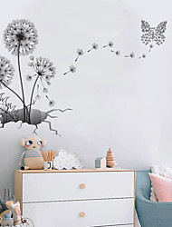 cheap -3D Large Black Dandelion Flower Wall Stickers Home Decoration Living Room Bedroom Furniture Art Decals Butterfly Murals