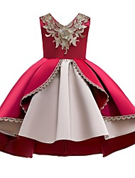 cheap -Ball Gown Ankle Length Pageant Flower Girl Dresses - Polyester Sleeveless V Neck with Appliques