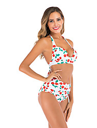 cheap -Women's Basic Black White Dusty Rose Bandeau Cheeky High Waist Bikini Swimwear Swimsuit - Floral Geometric Abstract Lace up Print S M L Black