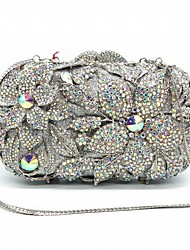 cheap -Women's Bags Alloy Evening Bag Crystals Hollow-out for Wedding / Event / Party Silver / Wedding Bags