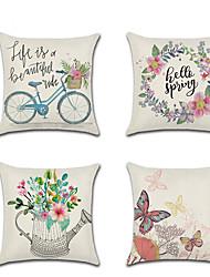 cheap -Set of 4 Linen Pillow Cover Holiday Cartoon Butterfly Spring Flowers Throw Pillow 45*45 cm