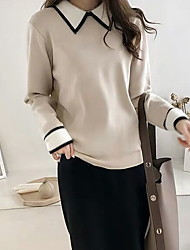 cheap -Women's Color Block Long Sleeve Pullover Sweater Jumper, Shirt Collar Black / Blue / Red One-Size