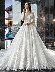 cheap -A-Line Off Shoulder Court Train Lace Sleeveless Casual Plus Size Wedding Dresses with Lace Insert 2020