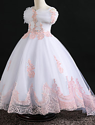 cheap -Princess Dress Flower Girl Dress Girls' Movie Cosplay A-Line Slip Cosplay Vacation Dress White / Pink Dress Halloween Carnival Masquerade Tulle Polyester