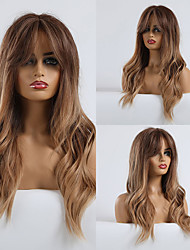 cheap -Synthetic Wig kinky Straight Loose Curl Lily Side Part Wig Long Light Blonde Synthetic Hair 24 inch Women's Color Gradient Fashion Comfortable Light Brown