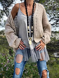 cheap -Women's Solid Colored Long Sleeve Cardigan Sweater Jumper, V Neck Black / Yellow / Khaki S / M / L