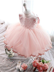 cheap -Princess / Ball Gown Knee Length Pageant Flower Girl Dresses - Polyester Sleeveless Jewel Neck with Lace