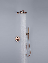 cheap -Shower Faucet Set - Rainfall Contemporary Rose Gold Wall Mounted Ceramic Valve Bath Shower Mixer Taps