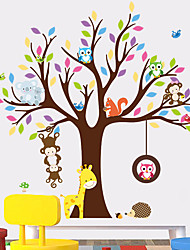 cheap -Giraffe Owl Monkey Tree Forest Animals Wall Stickers For Kids Room Children Bedroom Wall Decals Nursery Decor Poster Mural
