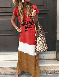 cheap -Women's 2020 Elegant Slim T Shirt Dress - Color Block Spring & Summer Yellow Red Blue S M L XL