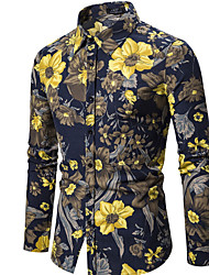 cheap -Men's Daily Shirt - Floral Navy Blue