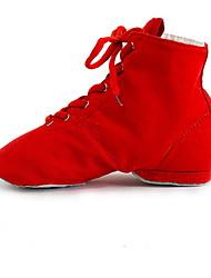 cheap -Women's Jazz Shoes Canvas Heel Flat Heel Dance Shoes Black / White / Purple