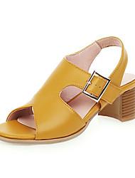 cheap -Women's Sandals Chunky Heel Open Toe PU Spring &  Fall Black / Brown / Army Green