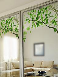 cheap -Fresh Green Twigs Window Film & Stickers Decoration Matte / Contemporary Print / 3D Print PVC(PolyVinyl Chloride) Matte Sticker / Window Sticker / Door Sticker