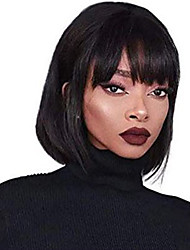 cheap -Human Hair Lace Front Wig Bob Short Bob Free Part style Brazilian Hair Straight Silky Straight Black Wig 130% Density with Baby Hair Natural Hairline For Black Women 100% Virgin 100% Hand Tied Women's