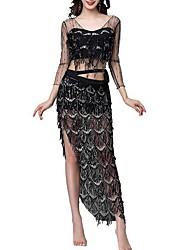 cheap -Belly Dance Bottoms / Tops Women's Performance Polyester Taffeta Tassel / Paillette Long Sleeve Natural Dress