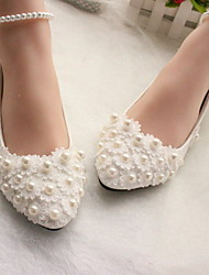 cheap -Women's Wedding Shoes Glitter Crystal Sequined Jeweled Flat Heel Round Toe Daily PU Winter White