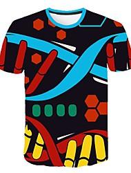 お買い得  -男性用 3D プリント スリム Tシャツ 日常 ラウンドネック ブラック / 半袖