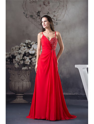 cheap -A-Line Spaghetti Strap Court Train Chiffon Elegant Formal Evening Dress with Beading 2020