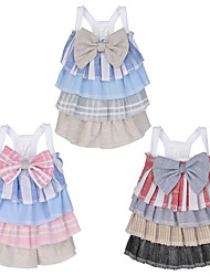 cheap -Dog Cat Dress Bowknot Lace Leisure Sweet Dog Clothes Red Blue Pink Costume Polyester Cotton XS S M L XL