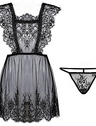 cheap -Women's Lace / Mesh Babydoll & Slips / Suits Nightwear Solid Colored Black White One-Size