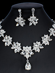cheap -Women's Hoop Earrings Necklace Bridal Jewelry Sets Classic Drop Pear Stylish Basic Cute Earrings Jewelry Silver For Party Wedding Engagement Two-piece Suit