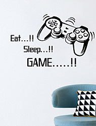 cheap -Eat Sleep Game Wall Stickers Boys Bedroom Letter Diy Kids Rooms Decoration Art Wall Stickers Letters Words Game Room