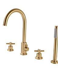cheap -Bathtub Faucet - Contemporary Nickel Brushed Roman Tub Brass Valve Bath Shower Mixer Taps