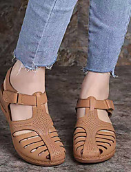 cheap -Women's Sandals Wedge Heel Round Toe Buckle PU Business / Vintage Spring &  Fall / Spring & Summer Black / Brown / Purple / Party & Evening