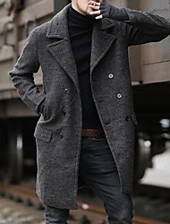 cheap -Men's Daily Fall & Winter Long Coat, Solid Colored Notch Lapel Long Sleeve Polyester Black / Brown / Gray