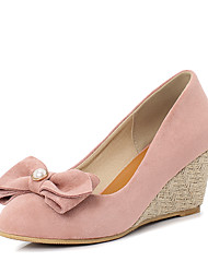 cheap -Women's Heels Wedge Heel Round Toe Bowknot / Imitation Pearl Suede Minimalism Spring & Summer Black / Almond / Pink / Party & Evening