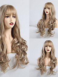 cheap -Synthetic Wig Matte Body Wave Lily Neat Bang Wig Long Light Brown Synthetic Hair 24 inch Women's Fashionable Design Comfortable Light Brown