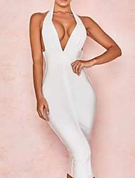 cheap -Women's Elegant Sheath Dress - Solid Colored Black White S M L