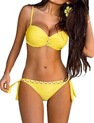 cheap -Women's Basic Fuchsia Orange Yellow Halter Cheeky Bikini Tankini Swimwear - Color Block Solid Colored Print S M L Fuchsia