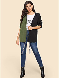 cheap -Women's Holiday / Going out Basic Fall & Winter Short Coat, Solid Colored Sun Flower V Neck Long Sleeve Faux Linen Print Green