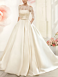 cheap -A-Line V Neck Court Train Tulle Half Sleeve Glamorous See-Through / Illusion Sleeve Wedding Dresses with Appliques 2020