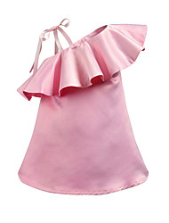cheap -Kids Toddler Girls' Boho Solid Colored Pleated Sleeveless Above Knee Dress Blushing Pink