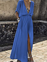 cheap -Women's 2020 Maxi Blue Black Dress Spring & Summer Swing Solid Colored Deep V S M Slim