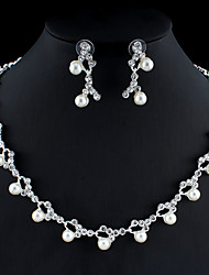 cheap -Women's White Hoop Earrings Necklace Bridal Jewelry Sets Classic Stylish Basic Earrings Jewelry Silver For Wedding Party Engagement Two-piece Suit