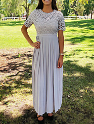 cheap -Sheath / Column Jewel Neck Floor Length Chiffon / Lace Short Sleeve Elegant Mother of the Bride Dress with Lace / Appliques / Ruching 2020