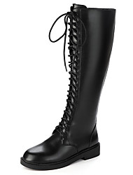 cheap -Women's Boots Low Heel Round Toe Synthetics Knee High Boots British / Minimalism Winter / Fall & Winter Black / Beige / Party & Evening