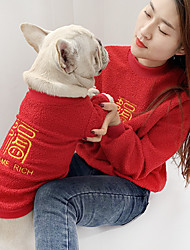 cheap -Dog Cat Costume Sweatshirt Matching Outfits Winter Dog Clothes Warm Green Red Pink Costume Bulldog Bichon Frise Poodle Fleece Quotes & Sayings Embroidered Leisure Cute Women M S M L XL XXL