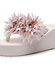 cheap -Women's Slippers & Flip-Flops Boho / Beach Wedge Heel Open Toe Sparkling Glitter / Tassel Polyester Sweet / Minimalism Walking Shoes Summer Wine / Pink / Black