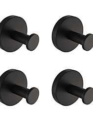 cheap -Rustproof SUS304 Stainless Steel Silky Matte Black Finished Hand Mirror Polishing  Bathroom Accessories Robe Hooks High Quality Pack 4 Q1-4
