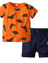 cheap -Kids Boys' Basic Christmas Home Print Cartoon Print Short Sleeve Regular Regular Clothing Set Orange